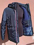 Мужская зимняя куртка с фигурной строчкой, темно-синяя, розмір 58, фото 4