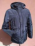 Мужская зимняя куртка с фигурной строчкой, темно-синяя, розмір 58, фото 6