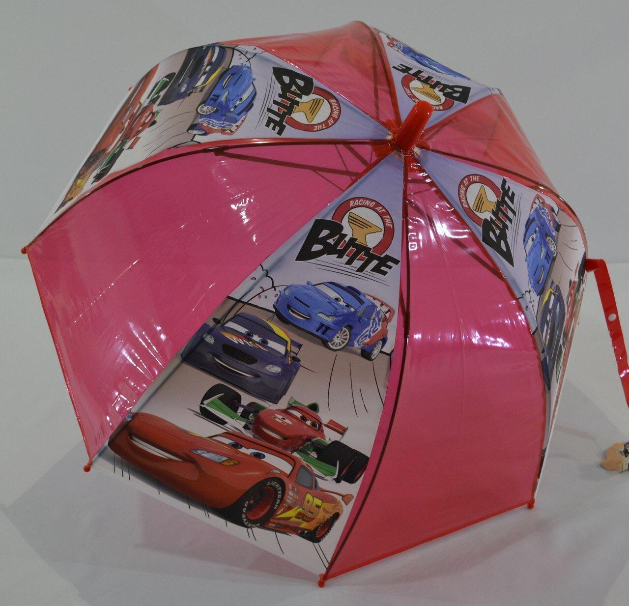 Детский прозрачный зонт трость для мальчиков Тачки
