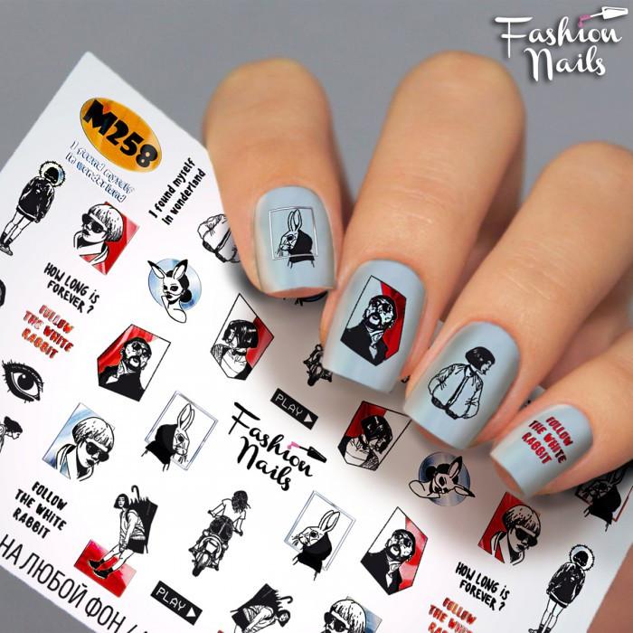 Слайдер-дизайн Fashion nails - наклейка на нігті - написи, люди, заєць арт.M258