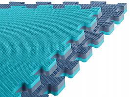 Спортивный мат-татами (ласточкин хвост, пазл) SportVida Mat Puzzle Multicolor 100 x 100 x 2 cм SV-HK0181 Blue/Sky Blue
