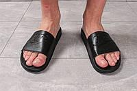 Мужские шлепанцы в стиле Nike, кожа, пена, черные *** 41 (27 см)