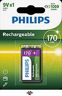PHILIPS 9V Аккумулятор 9V 6F22 8,4V, 170mAh, до 1000 циклов подзарядки