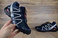 Мужские кроссовки в стиле Salomon Speedcross 3 синие с белым 43 (27 см)