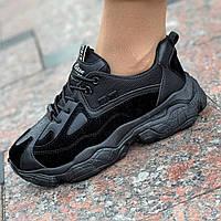 Женские кроссовки черные стильные на толстой подошве (Код: Б1533)