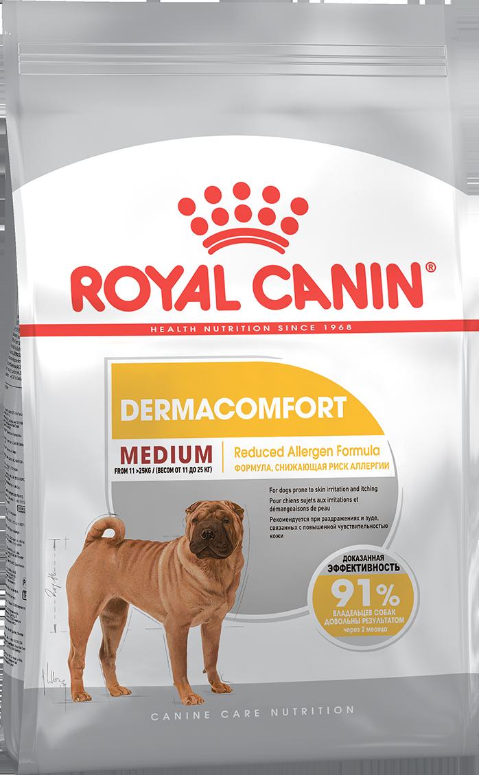 Сухой корм Royal Canin Medium Dermacomfort для собак средних пород с повышенной чувствительностью кожи 10 кг