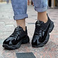 Женские кроссовки черные стильные на толстой подошве (Код: Б1533а)