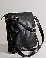 Женская сумка через плечо из натуральной кожи. Модель 08 черная