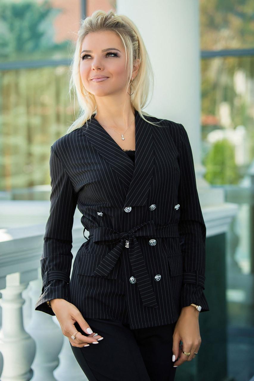 Пиджак Casual черный в полоску