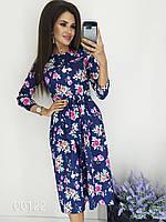 Платье миди с цветочным принтом, 00122 (Синий), Размер 44 (M)