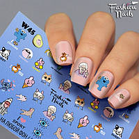 Слайдер-дизайн Fashion nails - наклейка для ногтей - мультяшки арт.W45