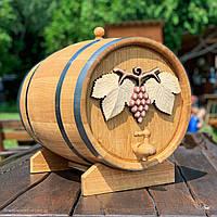 Дубова бочка 50л для вина, коньяку, віскі, рому (з різьбленням)