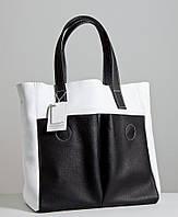 Женская сумка из кожи. Модель 02 черно-белый флотар