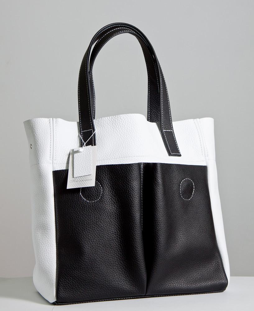 Женская сумка кожаная 02 черно-белый флотар 01020101-02