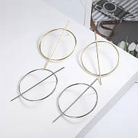 Сережки круги с вертикальной шпажкой в золотистом цвете