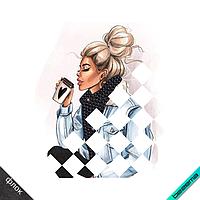 Термопечать на свитшот Девушка с кофе (ss10-черн)
