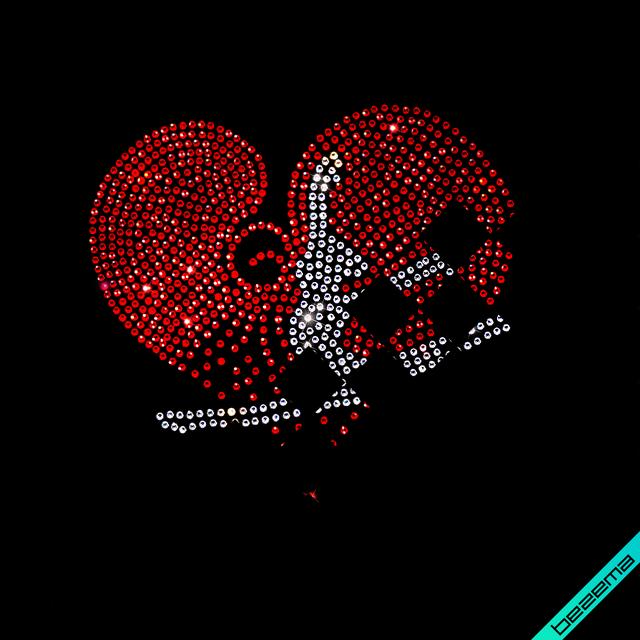 Декор из страз на туфли Гимнастка (ss6-красный;ss6-кристалл)