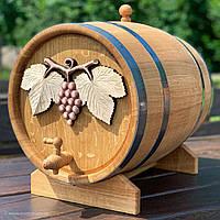 Дубовая бочка 40л для вина, коньяка, виски, рома (с резьбой)