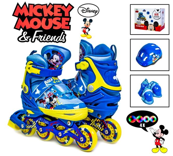 Раздвижные ролики 34-37 с комплектом защиты и шлемом Disney Mickey Mouse Все колеса светятся!