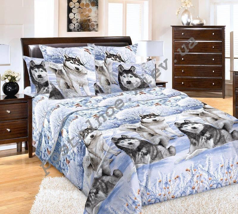 Постельное белье  Хаски на снегу, бязь, разные размеры двуспальный