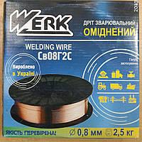 Дріт зварювальний оміднений 0,8мм 2,5кг Werk СВ-08Г2С / Werk СВ-08Г2С Сварочная проволока омедненная 0.8 мм (2