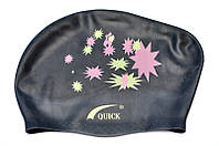 Шапочка для плавания Quick женская черная (для длинных волос)