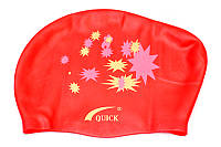 Шапочка для плавания Quick женская красная (для длинных волос)