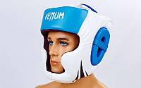 Кожаный боксерский шлем с полной защитой Venum Challenger BO-5246-B синий-белый