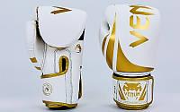 Перчатки боксерские PU на липучке VENUM BO-8352-W  белый-золотой