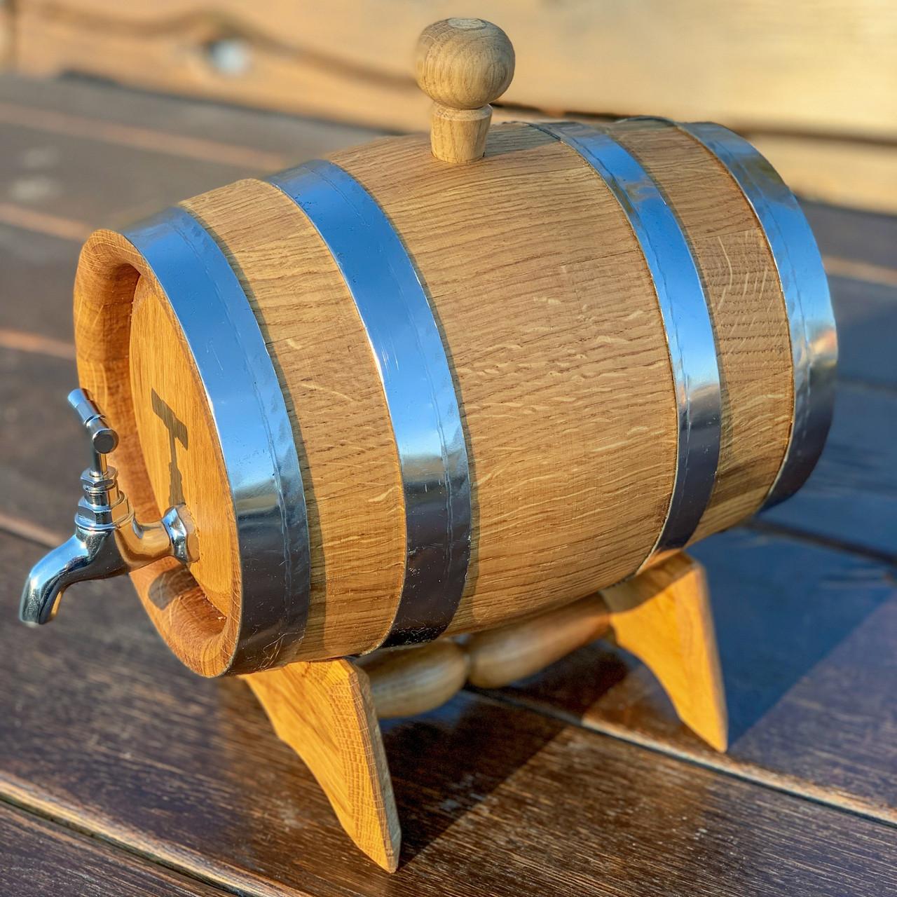 Дубовая бочка 3л для вина, коньяка, виски, рома  (латунный кран)