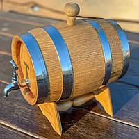 Дубовая бочка 3л для вина, коньяка, виски, рома  (латунный кран), фото 1