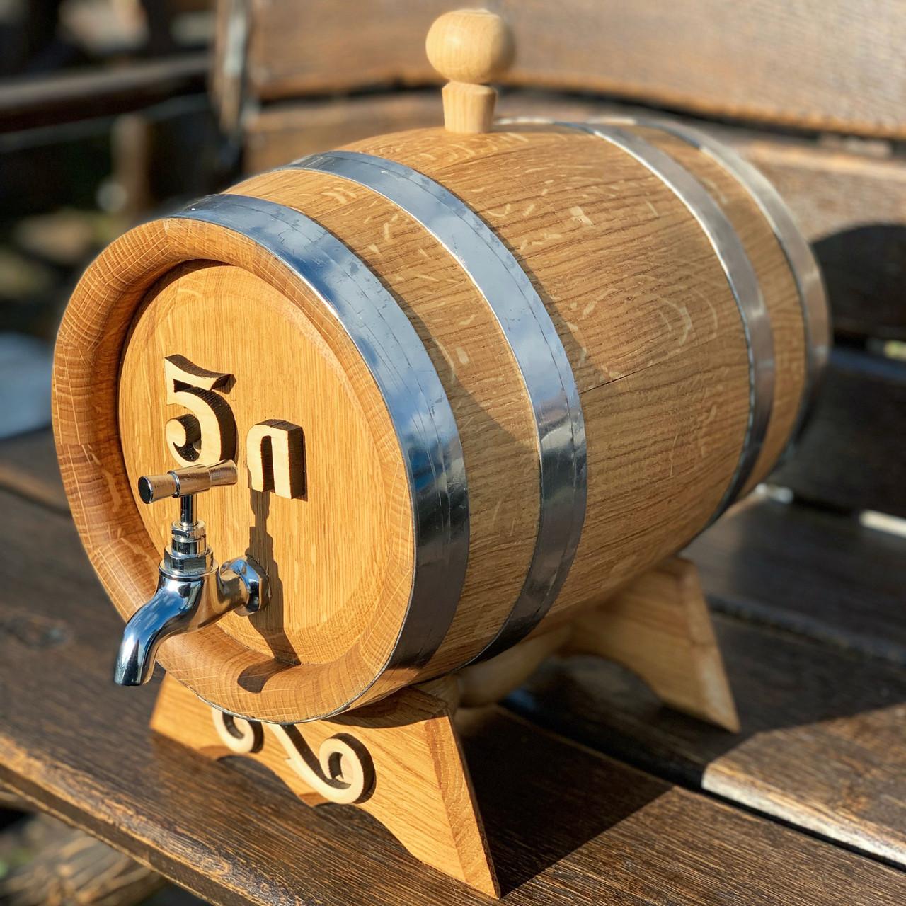Дубовая бочка 5л для вина, коньяка, виски, рома (резьба, латунный кран)