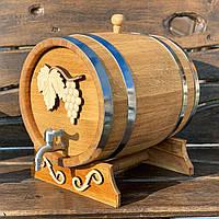 Дубовая бочка 10л для вина, коньяка, виски, рома (с резьбой, кран нержавейка)
