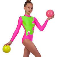 Купальник гимнастический для выступлений детский SP-Planeta DR-1405-PG (RUS-32-38, рост-122-152см, малиновый-салатовый)