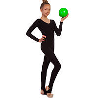 Комбинезон гимнастический с длинным рукавом из хлопка SP-Planeta DR-11839-BK (p-p RUS-32-42, рост 122-164см, черный)