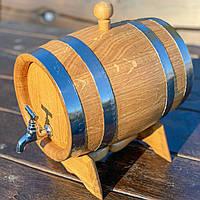Дубовая бочка 5л для вина, коньяка, виски, рома (латунный кран), фото 1