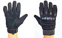 Перчатки тактические с закрытыми пальцами и усил. протектор OAKLEY BC-4623-BK (р-р M-XXL, черный)