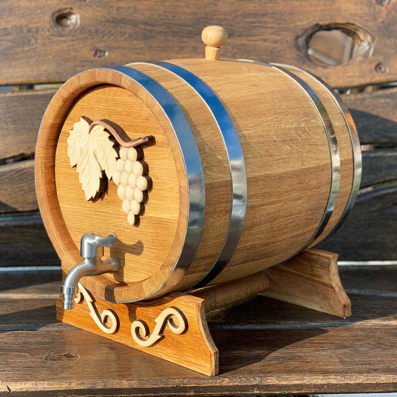 Дубовая бочка 20л для вина, коньяка, виски, рома (с резьбой, кран нержавейка)