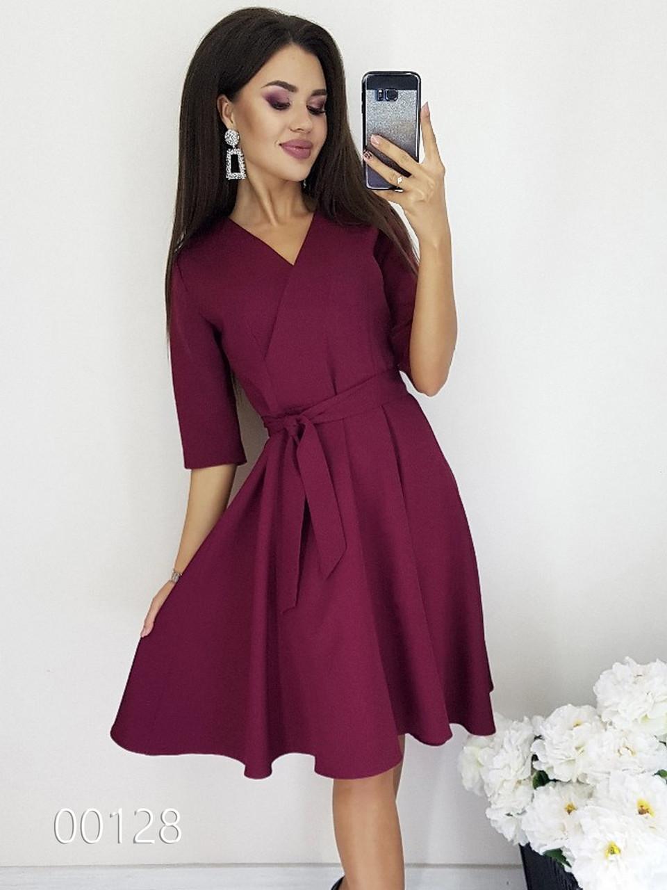 Платье с запахом на груди вечернее, 00128 (Бордовый), Размер 44 (M)