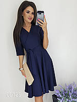 Деловое офисное платье на запах, 00129 (Индиго), Размер 44 (M)