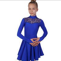 Платье рейтинговое (бейсик) с длинным рукавом и гипюровыми вставками SP-Planeta DR-1494-B (бифлекс, р-р RUS-32-42, рост 122-164см, синий)