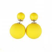 Серьги шарики в стиле Mise en Dior желтый неон глянцевые
