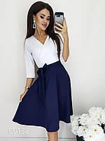 Классическое платье с белым верхом и темным низом из крепа, 00132 (Синий), Размер 44 (M)