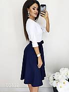 Классическое платье с белым верхом и темным низом из крепа, 00132 (Синий), Размер 44 (M), фото 2