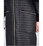 Пальто с рукавами 3/4 №1470-1-черный-полоска, фото 4