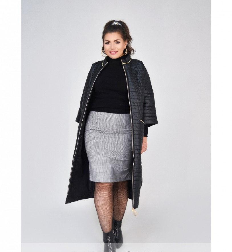 Пальто с рукавами 3/4 №1470-1-черный-полоска