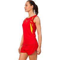 Форма для легкой атлетики женская LD-8308-1  (полиэстер, р-р L-2XL(44-50), красный-желтый)