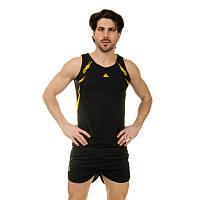 Форма для легкой атлетики мужская LD-8307-3 (полиэстер, р-р M-3XL-160-185см, черный-желтый)