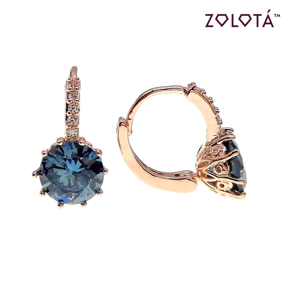 Серьги Zolota с светло-синими фианитами (куб. цирконием), из медицинского золота, в позолоте, ЗЛ00658 (1)