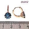 Серьги Zolota с светло-синими фианитами (куб. цирконием), из медицинского золота, в позолоте, ЗЛ00658 (1), фото 2